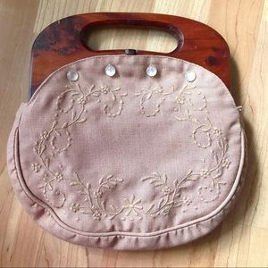 1960s Dusty Rose floral embroidered canvas bag💕